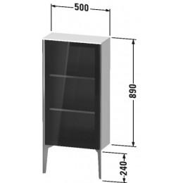 Duravit XVIU XV1361LB140 Шкафчик напольный со стеклянными дверцами 500 x 240 мм Черный глянцевый