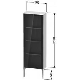 Duravit XVIU XV1366LB140 Шкафчик напольный со стеклянными дверцами 500 x 240 мм Черный глянцевый