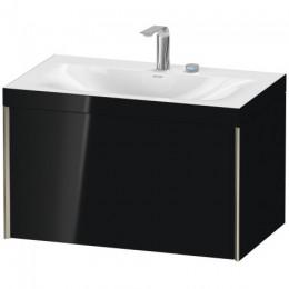 Duravit XVIU XV4610EB140C Умывальник мебельный с подвесной тумбочкой c-bonded в комплекте 80 см Черный глянцевый