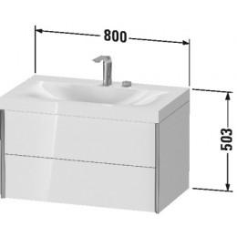 Duravit XVIU XV4615EB140C Умывальник мебельный с подвесной тумбочкой c-bonded в комплекте 80 см Черный глянцевый