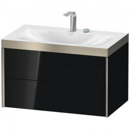 Duravit XVIU XV4615EB140P Умывальник мебельный с подвесной тумбочкой c-bonded в комплекте 80 см Черный глянцевый