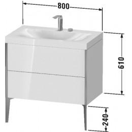Duravit XVIU XV4710EB121C Умывальник мебельный с напольной тумбочкой c-bonded в комплекте 80 см Орех темный