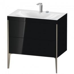 Duravit XVIU XV4710EB140C Умывальник мебельный с напольной тумбочкой c-bonded в комплекте 80 см Черный глянцевый