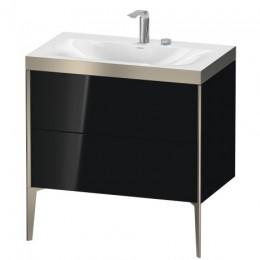 Duravit XVIU XV4710EB140P Умывальник мебельный с напольной тумбочкой c-bonded в комплекте 80 см Черный глянцевый