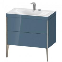 Duravit XVIU XV4710EB147C Умывальник мебельный с напольной тумбочкой c-bonded в комплекте 80 см Каменно-синий глянцевый