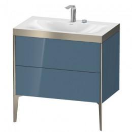 Duravit XVIU XV4710EB147P Умывальник мебельный с напольной тумбочкой c-bonded в комплекте 80 см Каменно-синий глянцевый