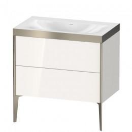 Duravit XVIU XV4710NB122P Умывальник мебельный с напольной тумбочкой c-bonded в комплекте 80 см Белый глянцевый
