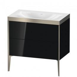 Duravit XVIU XV4710NB140P Умывальник мебельный с напольной тумбочкой c-bonded в комплекте 80 см Черный глянцевый