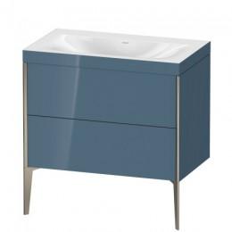 Duravit XVIU XV4710NB147C Умывальник мебельный с напольной тумбочкой c-bonded в комплекте 80 см Каменно-синий глянцевый