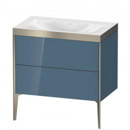 Duravit XVIU XV4710NB147P Умывальник мебельный с напольной тумбочкой c-bonded в комплекте 80 см Каменно-синий глянцевый