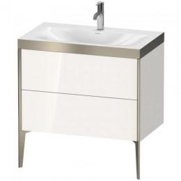 Duravit XVIU XV4710OB122P Умывальник мебельный с напольной тумбочкой c-bonded в комплекте 80 см Белый глянцевый