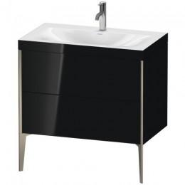 Duravit XVIU XV4710OB140C Умывальник мебельный с напольной тумбочкой c-bonded в комплекте 80 см Черный глянцевый