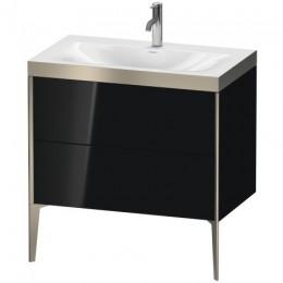 Duravit XVIU XV4710OB140P Умывальник мебельный с напольной тумбочкой c-bonded в комплекте 80 см Черный глянцевый