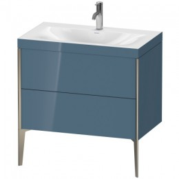 Duravit XVIU XV4710OB147C Умывальник мебельный с напольной тумбочкой c-bonded в комплекте 80 см Каменно-синий глянцевый