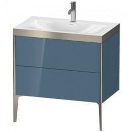 Duravit XVIU XV4710OB147P Умывальник мебельный с напольной тумбочкой c-bonded в комплекте 80 см Каменно-синий глянцевый