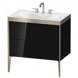 Duravit XVIU XV4710TB140P Умывальник мебельный с напольной тумбочкой c-bonded в комплекте 80 см Черный глянцевый