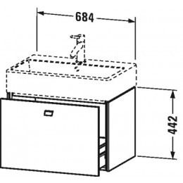 Duravit Brioso BR405402222 Тумбочка подвесная 68 см Белый глянцевый