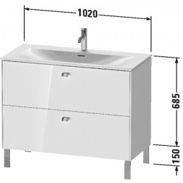 Duravit Brioso BR451302222 Тумбочка напольная 102 см Белый глянцевый