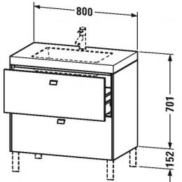Duravit Brioso BR4701O1022 Умывальник мебельный с напольной тумбочкой c-bonded в комплекте 80 см Белый глянцевый