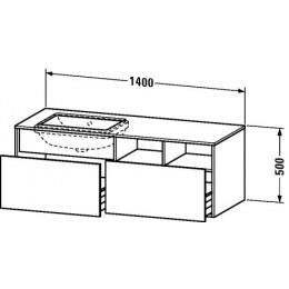Duravit Durastyle DS6885L0707 Тумбочка подвесная для встраиваемого снизу умывальника в комплекте 140 см Бетонно-серый матовый