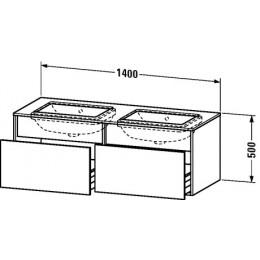 Duravit Durastyle DS6886B0707 Тумбочка подвесная для встраиваемого снизу умывальника в комплекте 140 см Бетонно-серый матовый