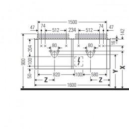 Duravit Happy D.2 Plus HP4936B2222 Тумба подвесная 160 см белый глянец