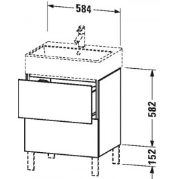 Duravit L-Cube LC677502222 Тумба напольная 58 см Белый глянцевый