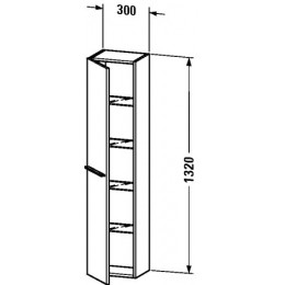 Duravit X-Large XL1150R4040 Высокий шкаф 30 см Черный глянцевый