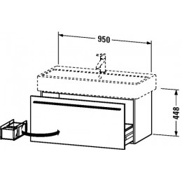 Duravit X-Large XL604602121 Тумбочка подвесная 95 см Орех темный