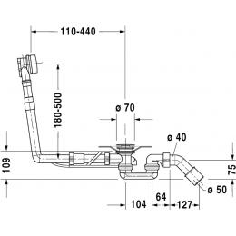 Слив-перелив удлиненный для ванны хром Duravit Starck 790293000