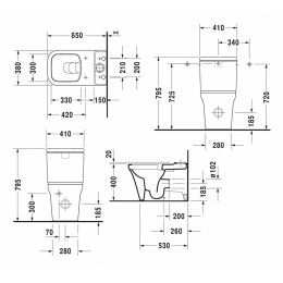 Бачок для унитаза Duravit P3 Comforts 0937000005