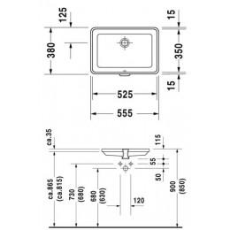 Duravit 2Nd Floor 0316530000 Умывальник встраиваемый 55 см