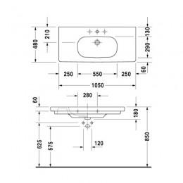 Duravit XBase Тумба белый матовый с раковиной 100 см XB619301818 + 03421000002