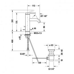 Duravit C.1 C11020001010 Смеситель для раковины M хром