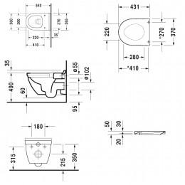 Duravit Starck 3 45270900A1 (252709+006389) Комплект: унитаз+сиденье белый