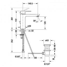 Duravit B.3 B31020001010, Смеситель для раковины, цвет хром
