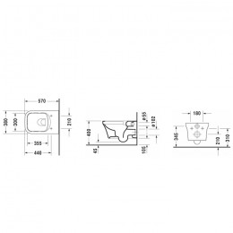 Duravit P3 Comforts Rimless 2561092000, Унитаз подвесной, цвет белый