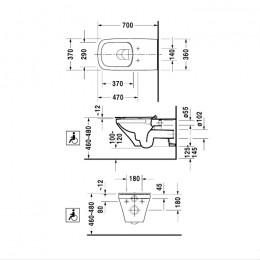 Duravit DuraStyle 2559090000 Унитаз подвесной Vital Duravit Rimless® 37 см белый