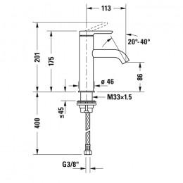 Duravit C.1 C11020002046 Смеситель для раковины M черный