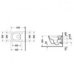 Duravit Darling New 2557090000 Унитаз подвесной Rimless без смывного края 370x540 мм Белый