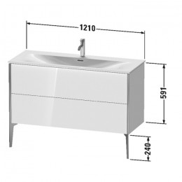 Duravit XVIU XV43040B122, Тумба подвесная, 121 см, цвет белый/шампань