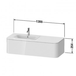 Duravit Happy D.2 Plus HP4952L2222, Тумба подвесная, 130 см, цвет белый