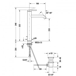 Duravit C.1 C11040001046 Однорычажный смеситель для раковины XL черный