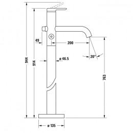 Duravit C.1 C15250000010 Однорычажный напольный смеситель для ванны хром