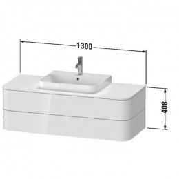 Duravit Happy D.2 Plus HP497209292, Тумба подвесная, 130 см, цвет серый камень