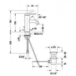 Duravit C.1 C11010001010 Смеситель для раковины S хром