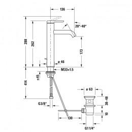 Duravit C.1 C11030001010 Однорычажный смеситель для раковины L хром