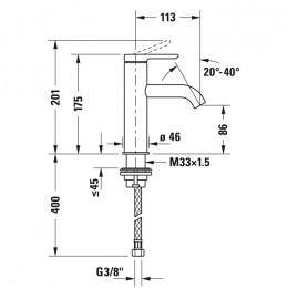 Duravit C.1 C11020002010 Смеситель для раковины M хром