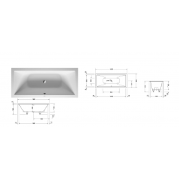 Duravit DuraSquare 700426000000000 Ванна встраиваемая 180 см белый