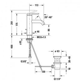 Duravit C.1 C11020001046 Смеситель для раковины M черный